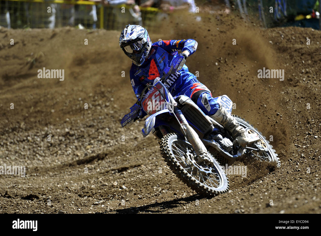 Loket, Czech Republic. 26th July, 2015. Romain Febvre from France competes during Motocross FIM world championship Stock Photo