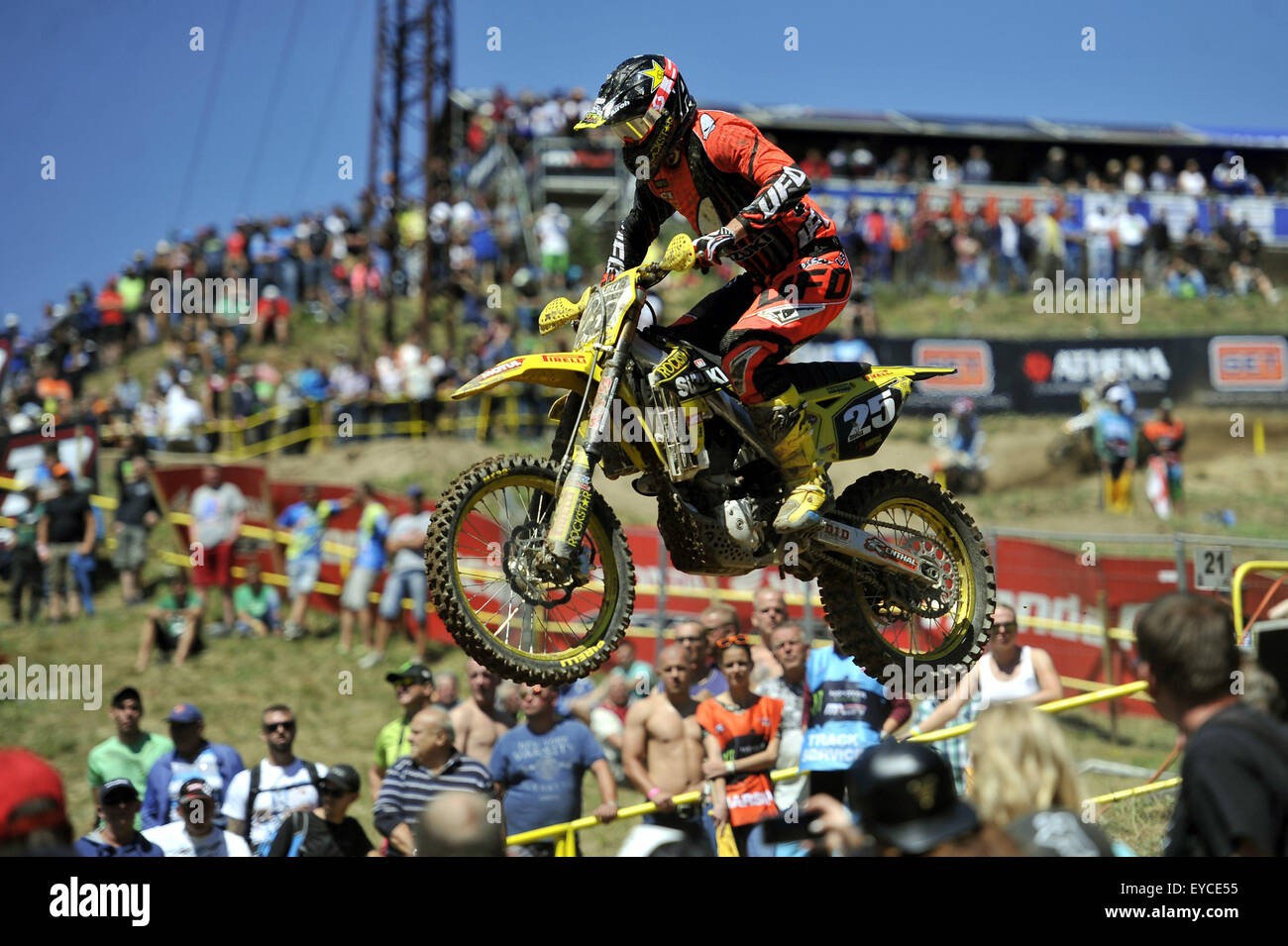Loket, Czech Republic. 26th July, 2015. Clement Desalle from Belgium competes during Motocross FIM world championship Stock Photo