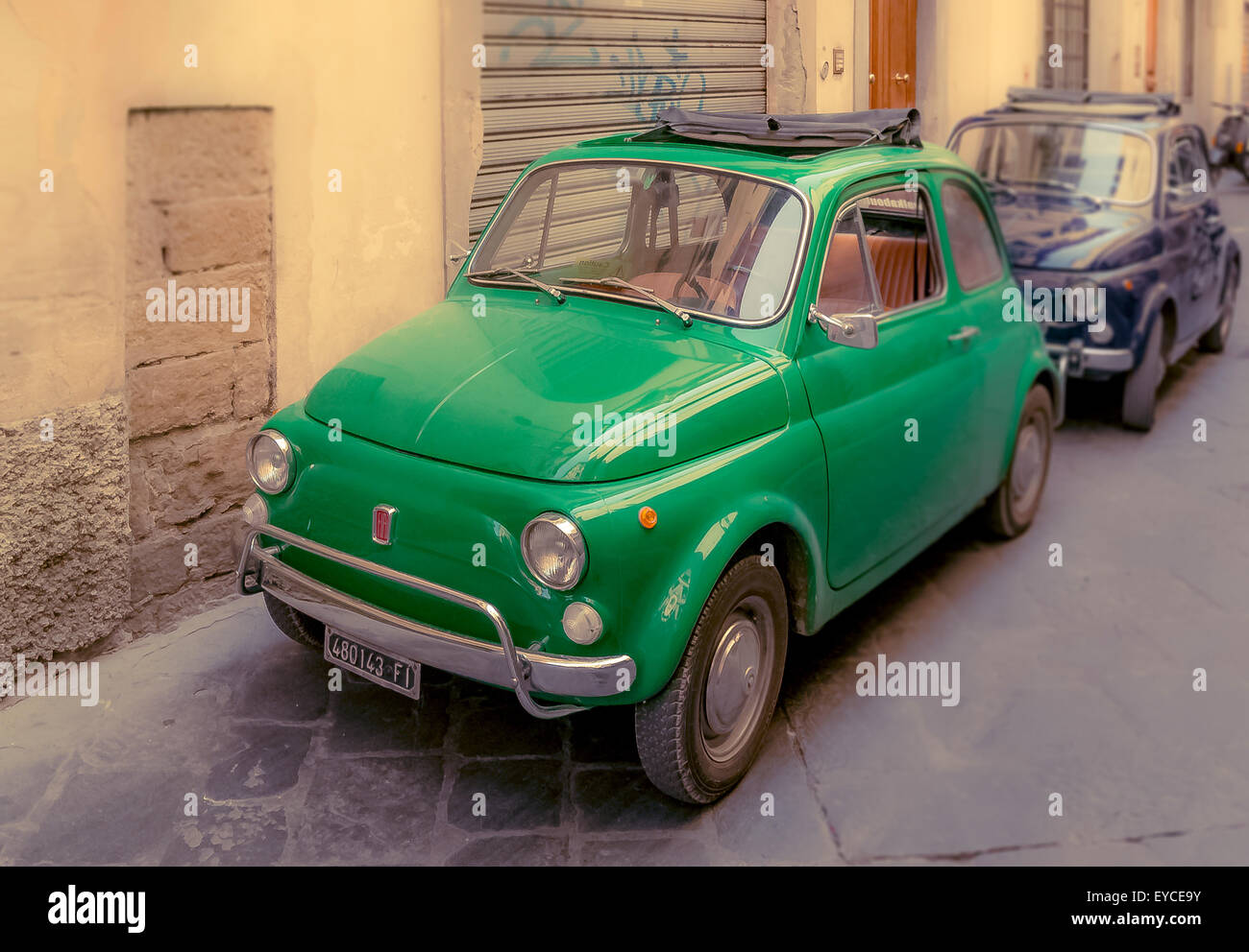 Classic Fiat 500 cars in Florence, italy. - Stock Image