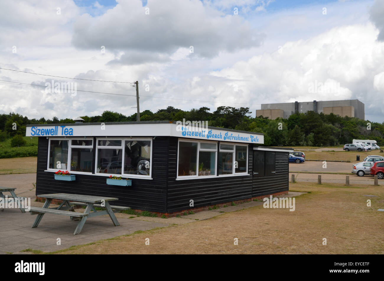 Beach cafe next to Sizewell nuclear power plant, Suffolk 2015 Stock Photo