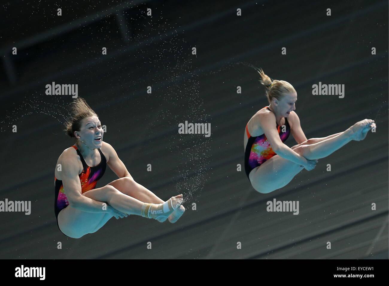 KAZAN, RUSSIA. JULY 25, 2015. Ukraine's Anastasia Nedobiga and Victoriya Kesar compete in the women's synchronized - Stock Image