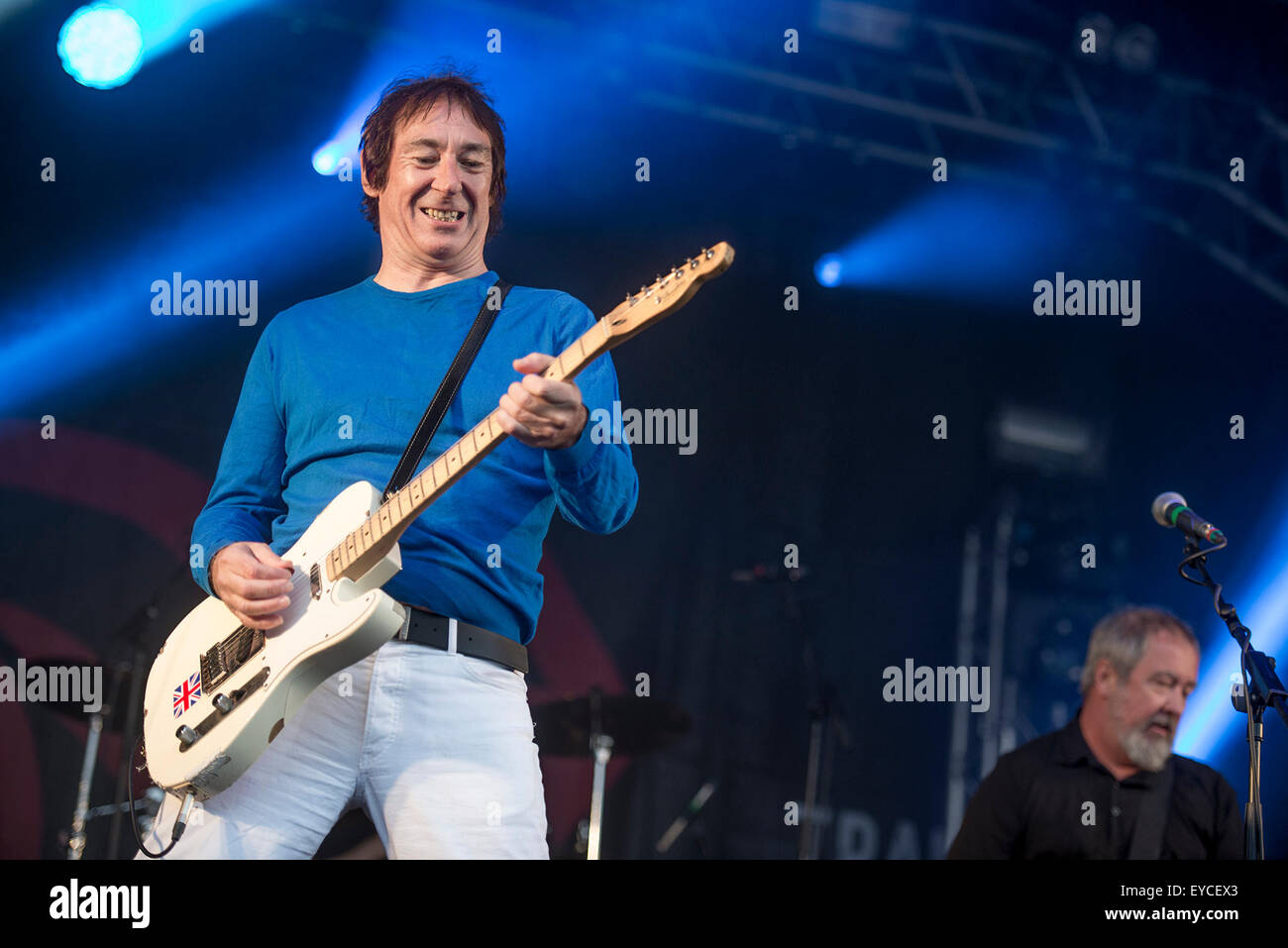 Sheffield, UK. 25th July 2015.  The Buzzcocks perform live on the main stage at Sheffield's Tramlines Festival - Stock Image