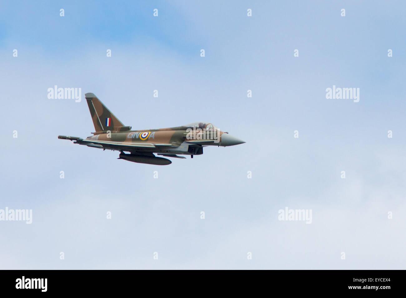 Sunderland, UK. 25th July, 2015. An FGR4 Typhoon Eurofighter flying at the Sunderland Airshow, July 2015 Credit: - Stock Image
