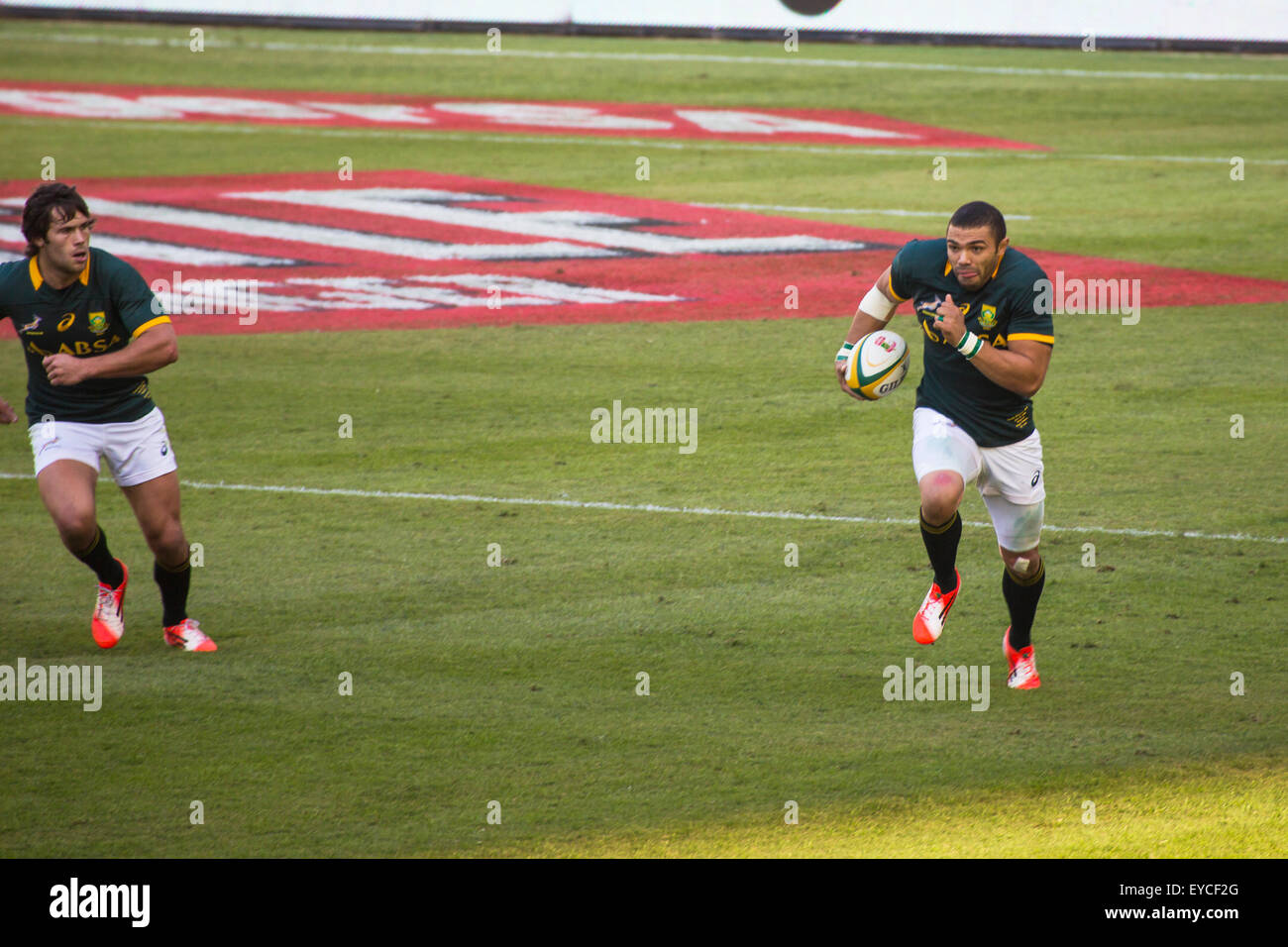 Springbok Bryan Habana with the ball during the 2nd test match between South Africa and Wales at Mbombela - Stock Image