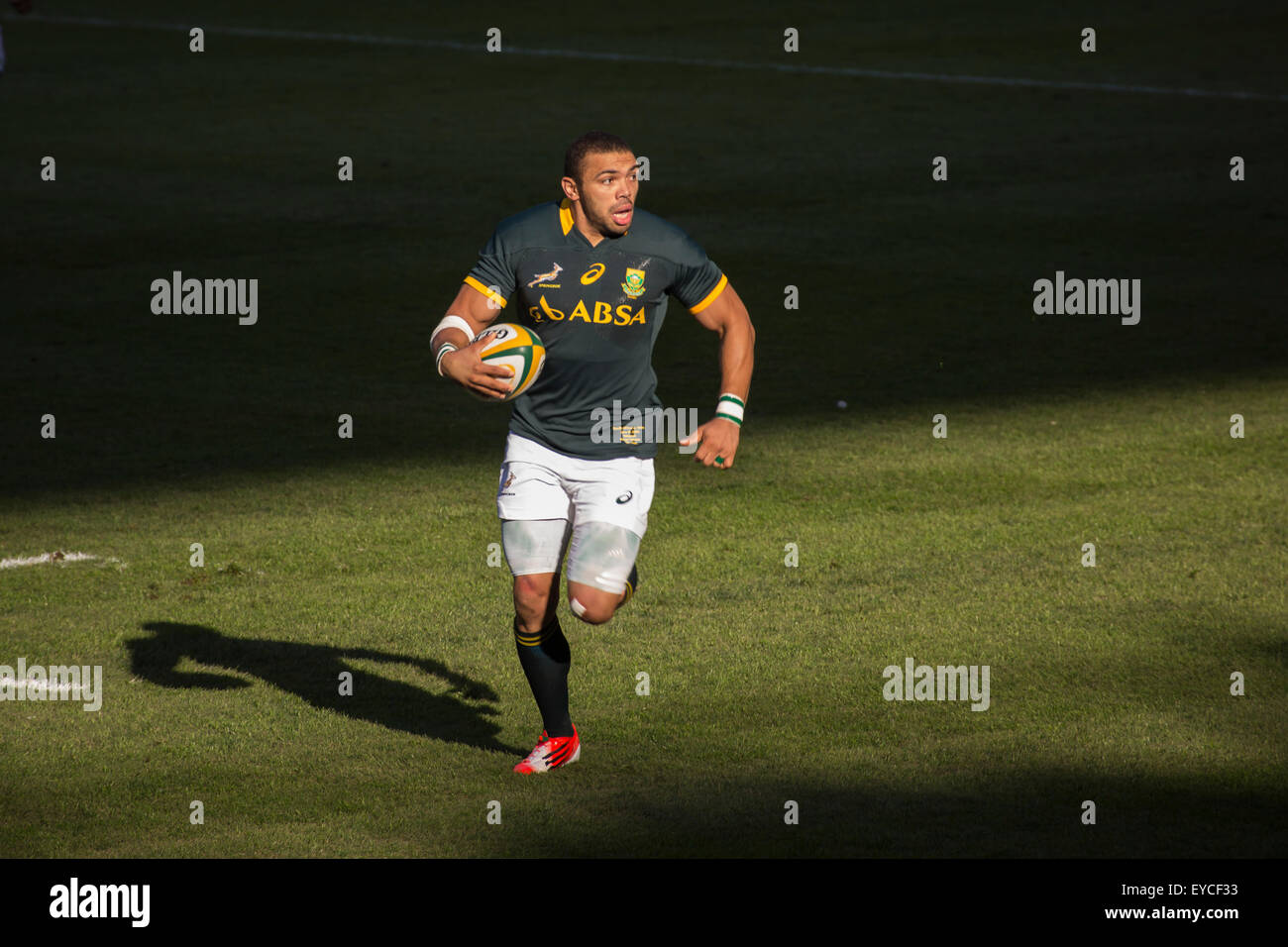 Springbok Bryan Habana with ball in hand in action during the 2nd test match between South Africa and Wales at Mbombela - Stock Image