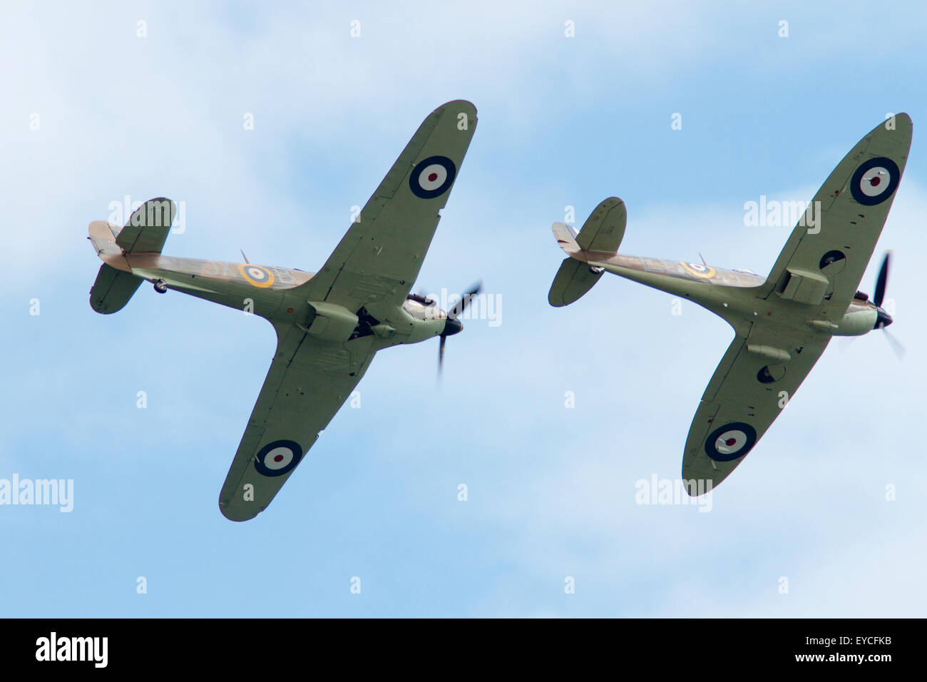 Sunderland, UK. 25th July, 2015. WW2 Spitfire and Hurricane flying at the Sunderland Airshow, July 2015 Credit: - Stock Image