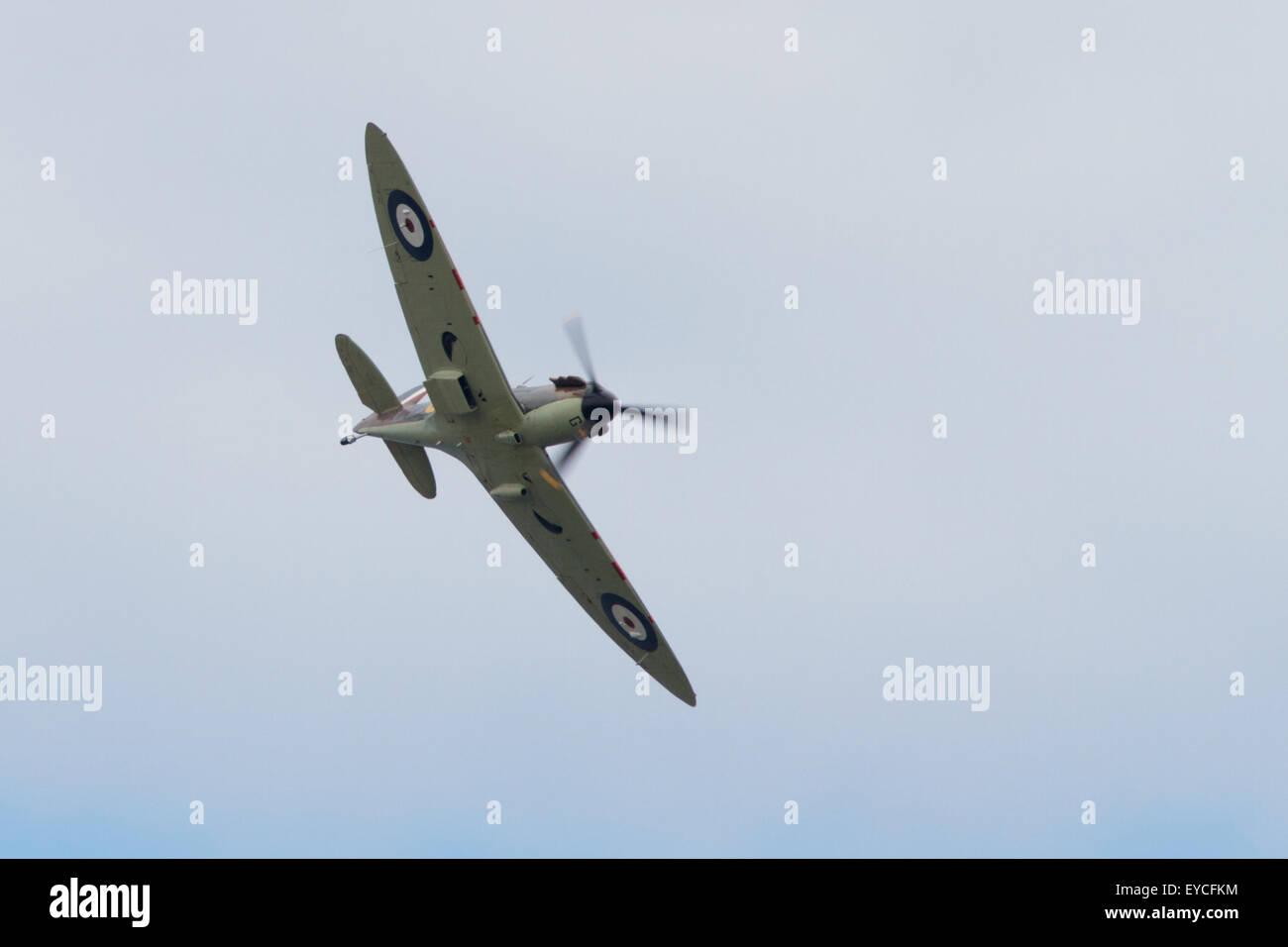 Sunderland, UK. 25th July, 2015. WW2 Spitfire flying at the Sunderland Airshow, July 2015 Credit:  Robert Cole/Alamy - Stock Image