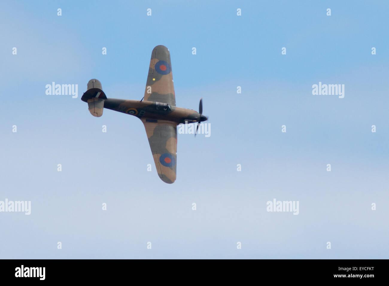Sunderland, UK. 25th July, 2015. WW2 Hurricane flying at the Sunderland Airshow, July 2015 Credit:  Robert Cole/Alamy - Stock Image