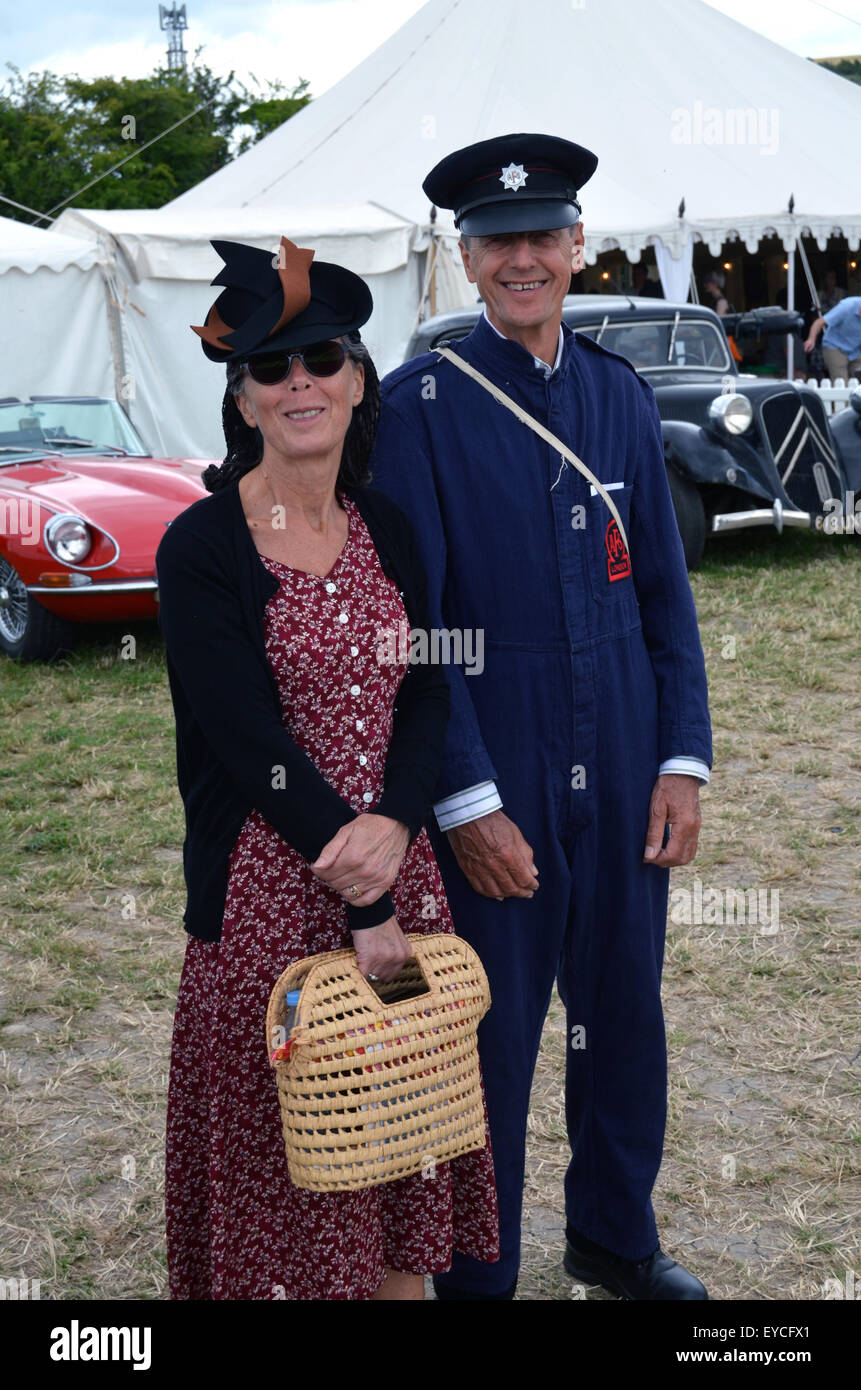 Chalke History Festival - couple dressing up in 1940s clothes. UK 2015 - Stock Image