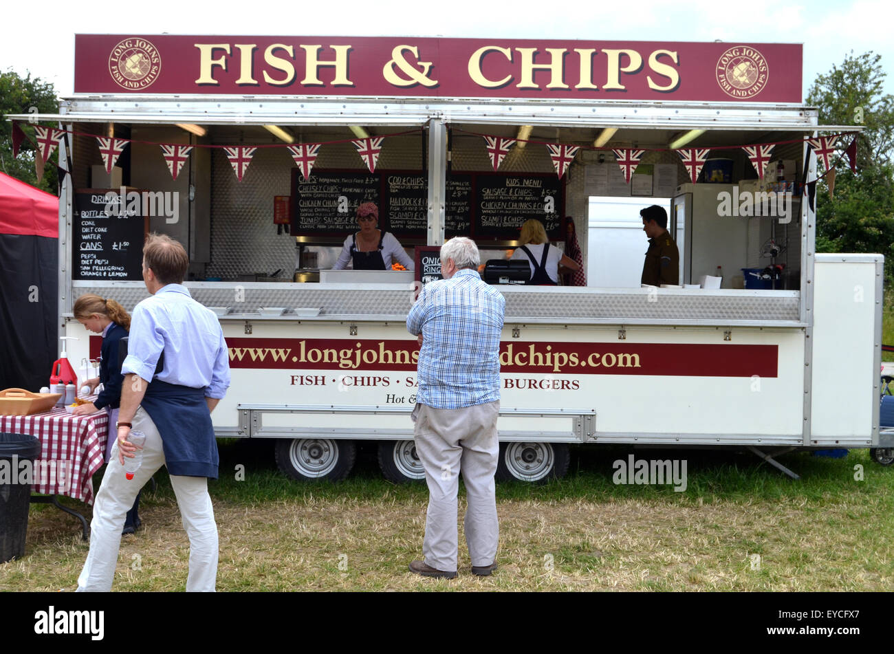 Fish & chips van at Chalke History Festival 2015 - Stock Image