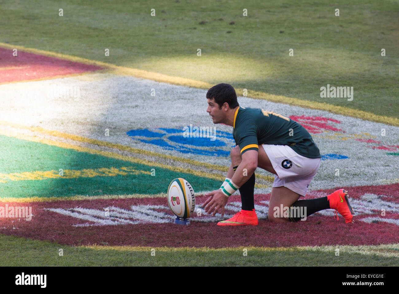 Morne Steyn lines up a penalty kick  during the 2nd test match between South Africa and Wales - Stock Image