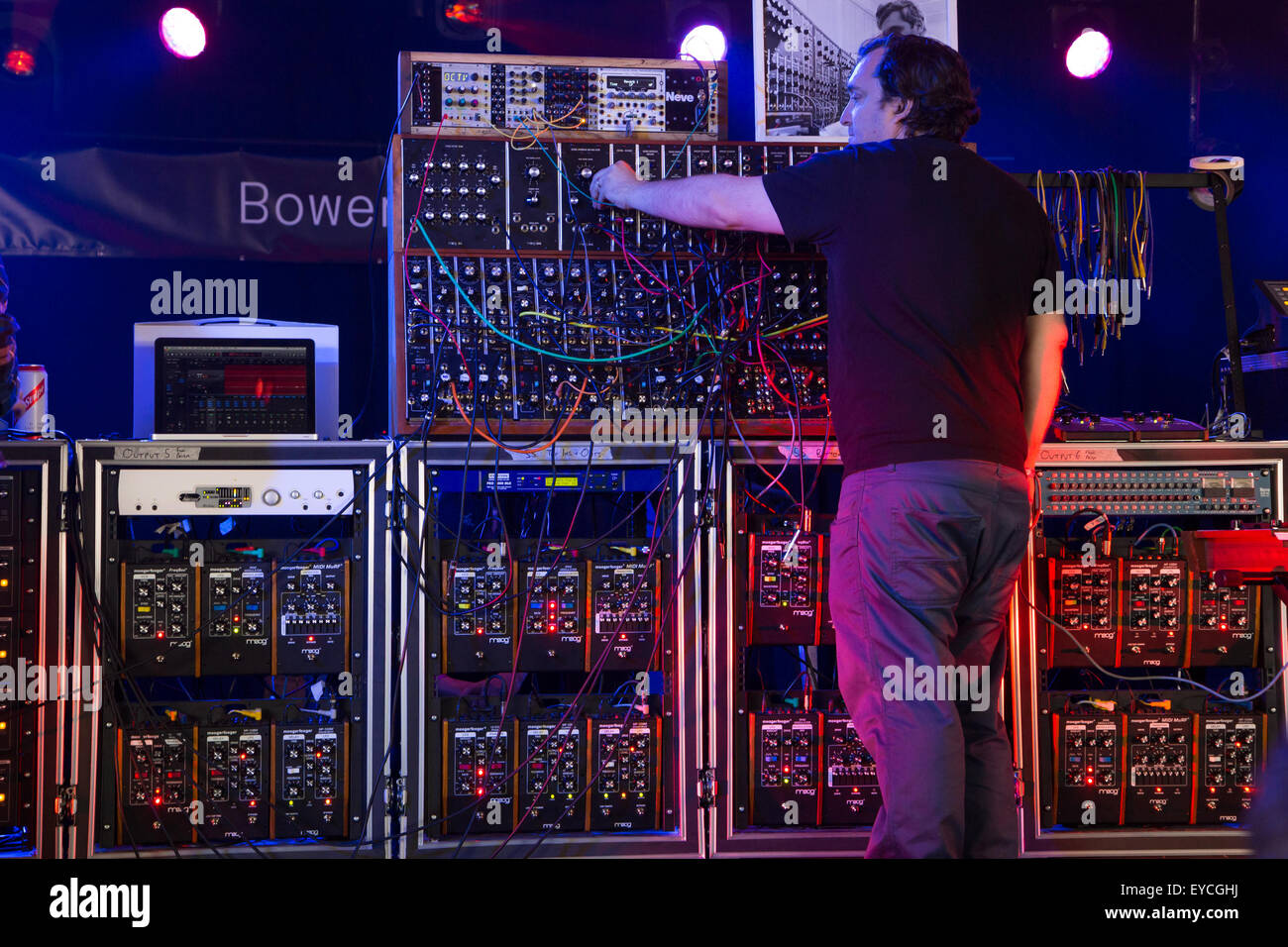 Womad Festival in Wiltshire, UK. 24th July, 2015. A rare appearance of an original Moog synthesiser creates a wall - Stock Image