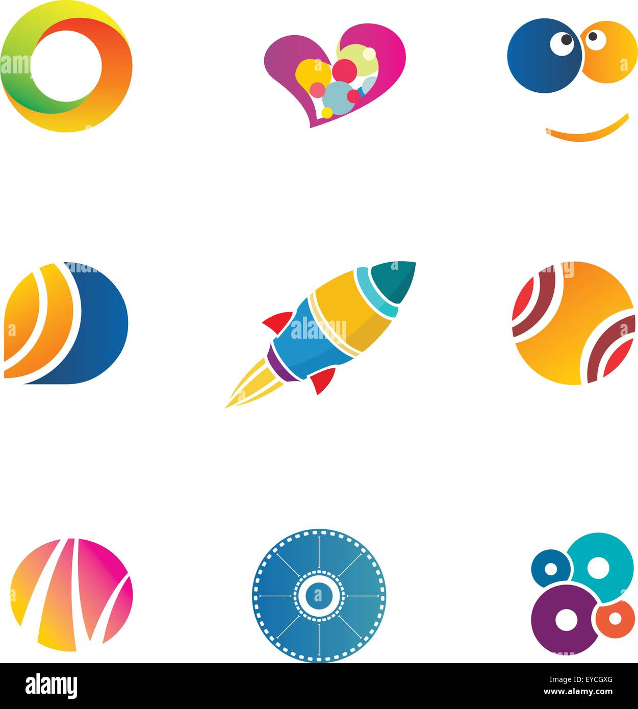 Entertainment Icons Set Abstract colorful logo templates for fun ...