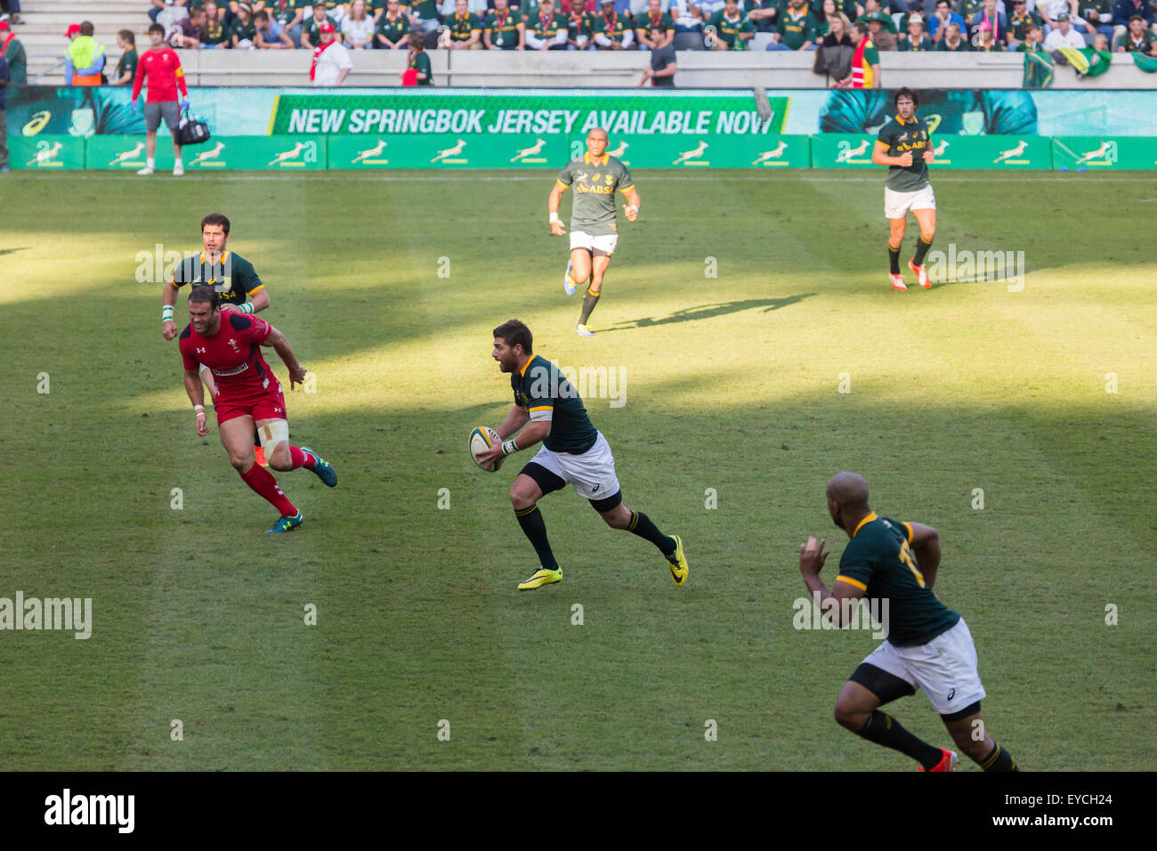Willie le Roux of South Africa with the ball  during the 2nd test match between South Africa and Wales - Stock Image