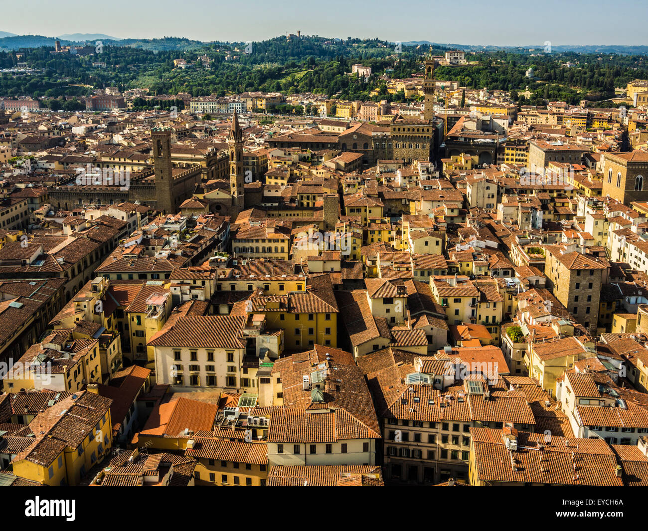 Terracotta rooftops of traditional Florentine buildings. Florence, italy. - Stock Image