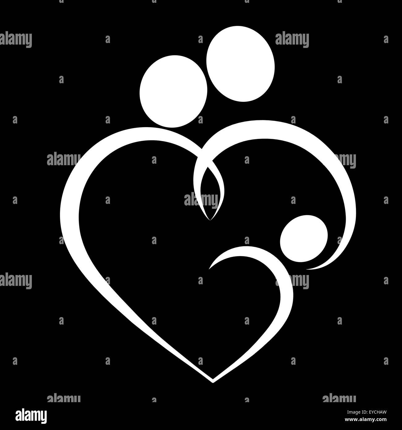 Family heart, symbol - Stock Image