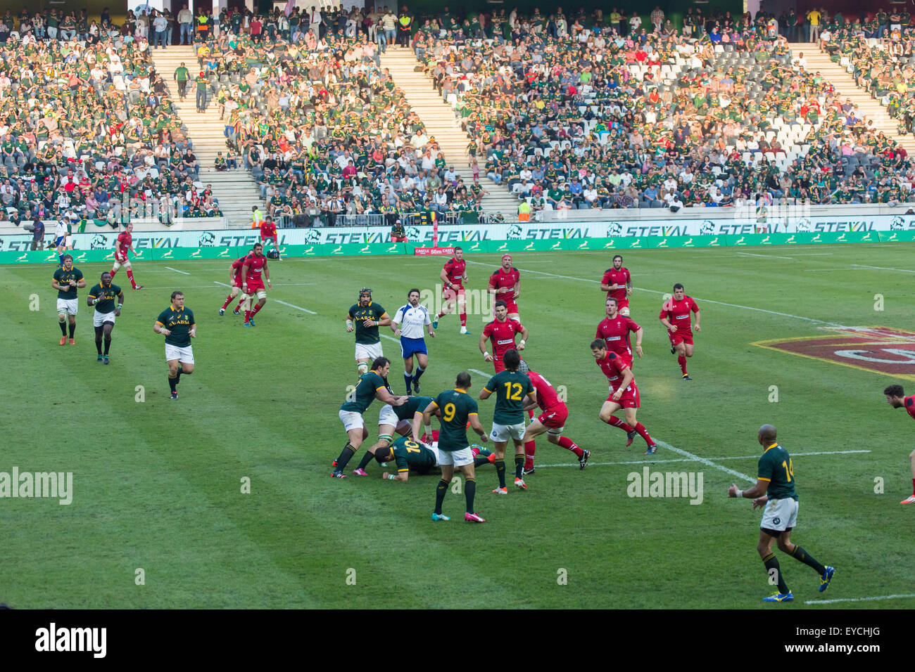 Springboks of  South Africa contest the ball on the ground  during the 2nd test match between South Africa and Wales - Stock Image