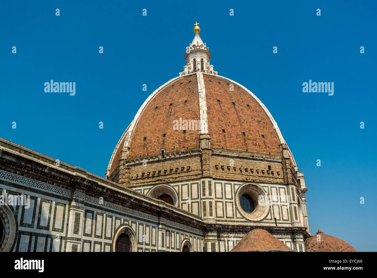 Florence Cathedral or Duomo dome designed by Flippo Brunelleschi. Florence, Italy. - Stock Image