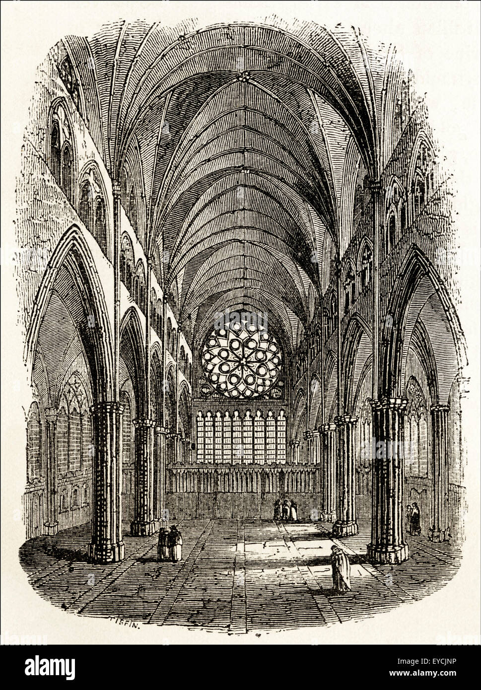 East Window From The Choir Inside Old St Pauls Cathedral Victorian Woodcut Engraving Circa 1845