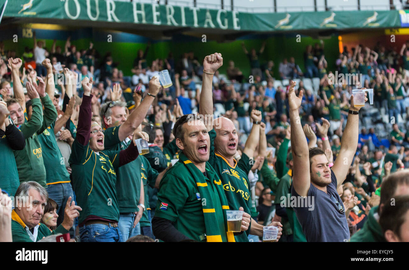South African fans celebrate a Springbok try  during the 2nd test match between South Africa and Wales - Stock Image