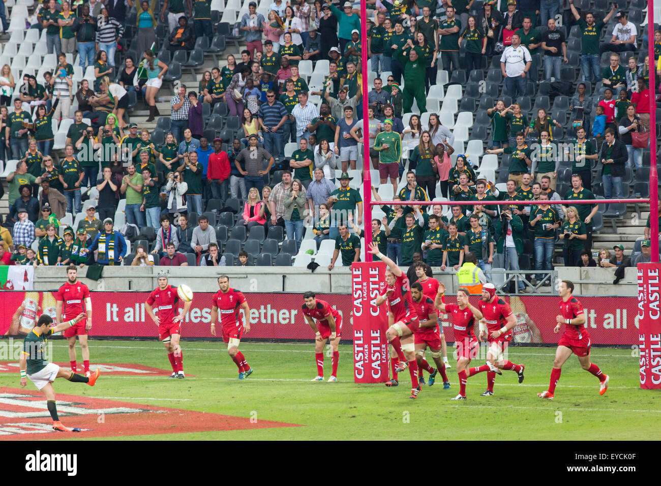 Morné Steyn of South Africa kicking for posts  during the 2nd test match between South Africa and Wales - Stock Image