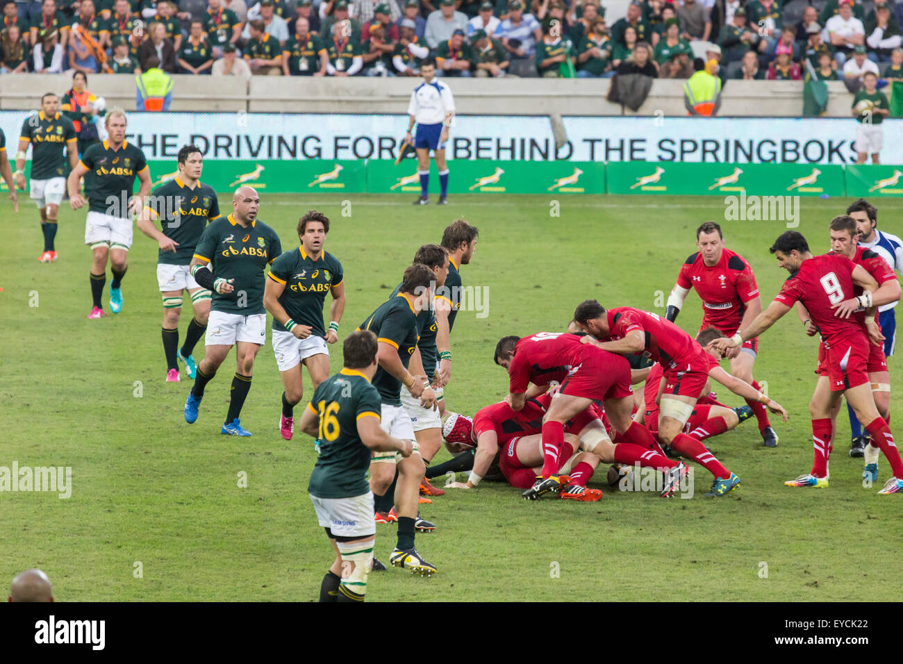 The Springboks and Welsh players contest the ball  during the 2nd test match between South Africa and Wales - Stock Image