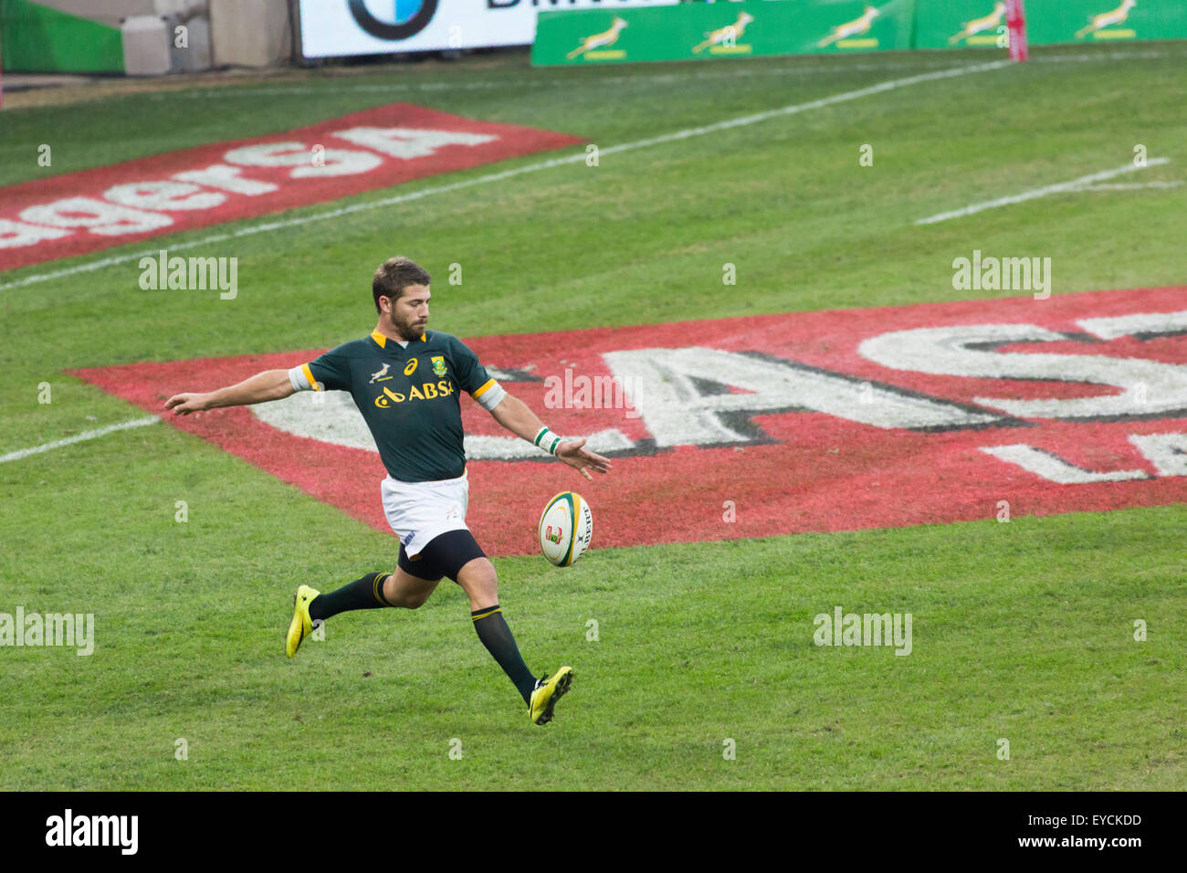 Willie le Roux of South Africa Kicking the ball  during the 2nd test match between South Africa and Wales - Stock Image