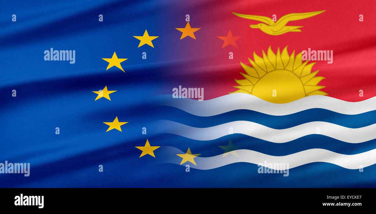 European Union and Kiribati. - Stock Image