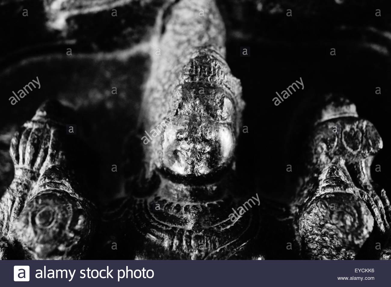 A Hindu deity at the Krishna Temple in Hampi, India. - Stock Image