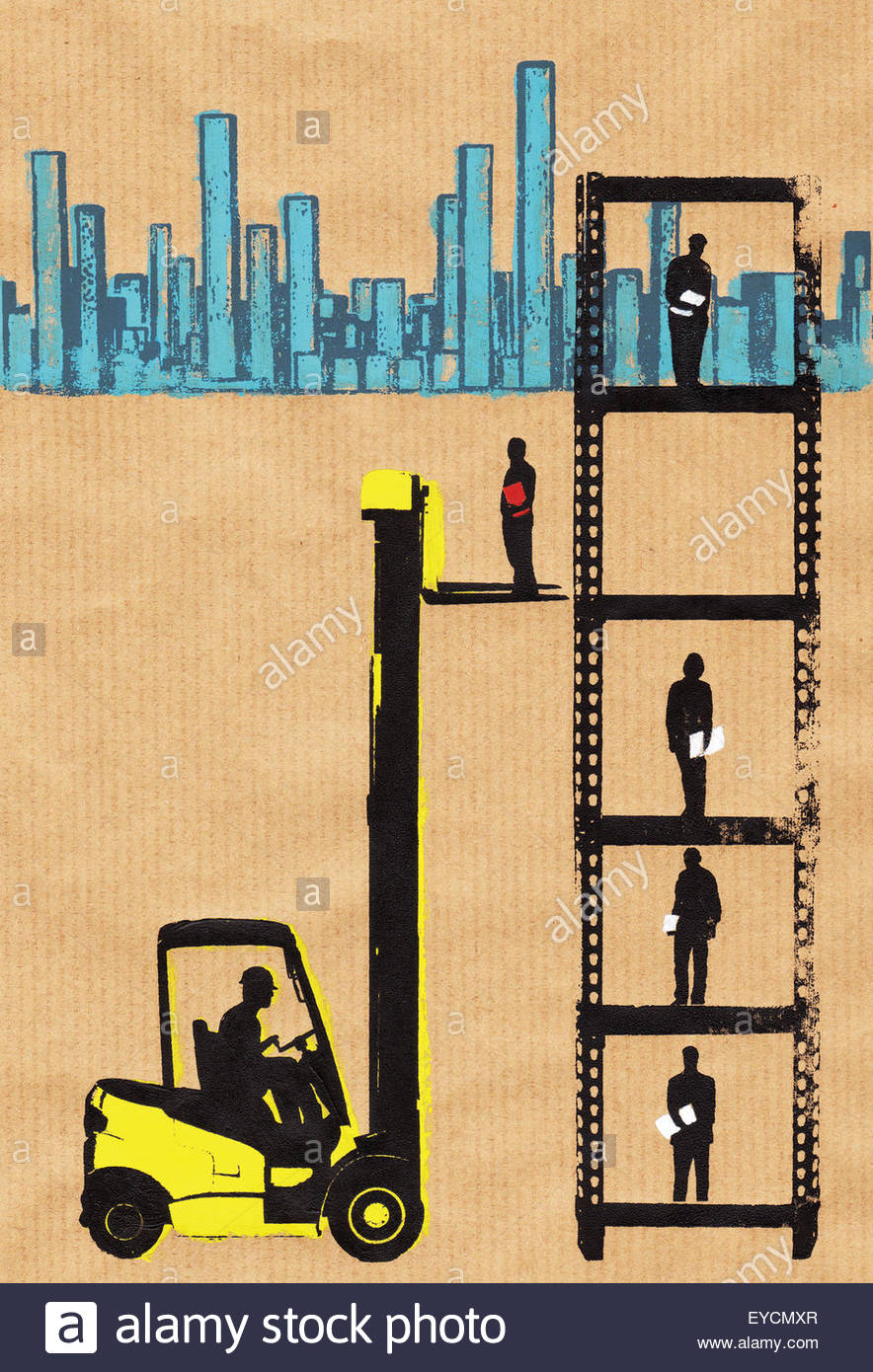 Forklift truck lifting workers up career ladder - Stock Image