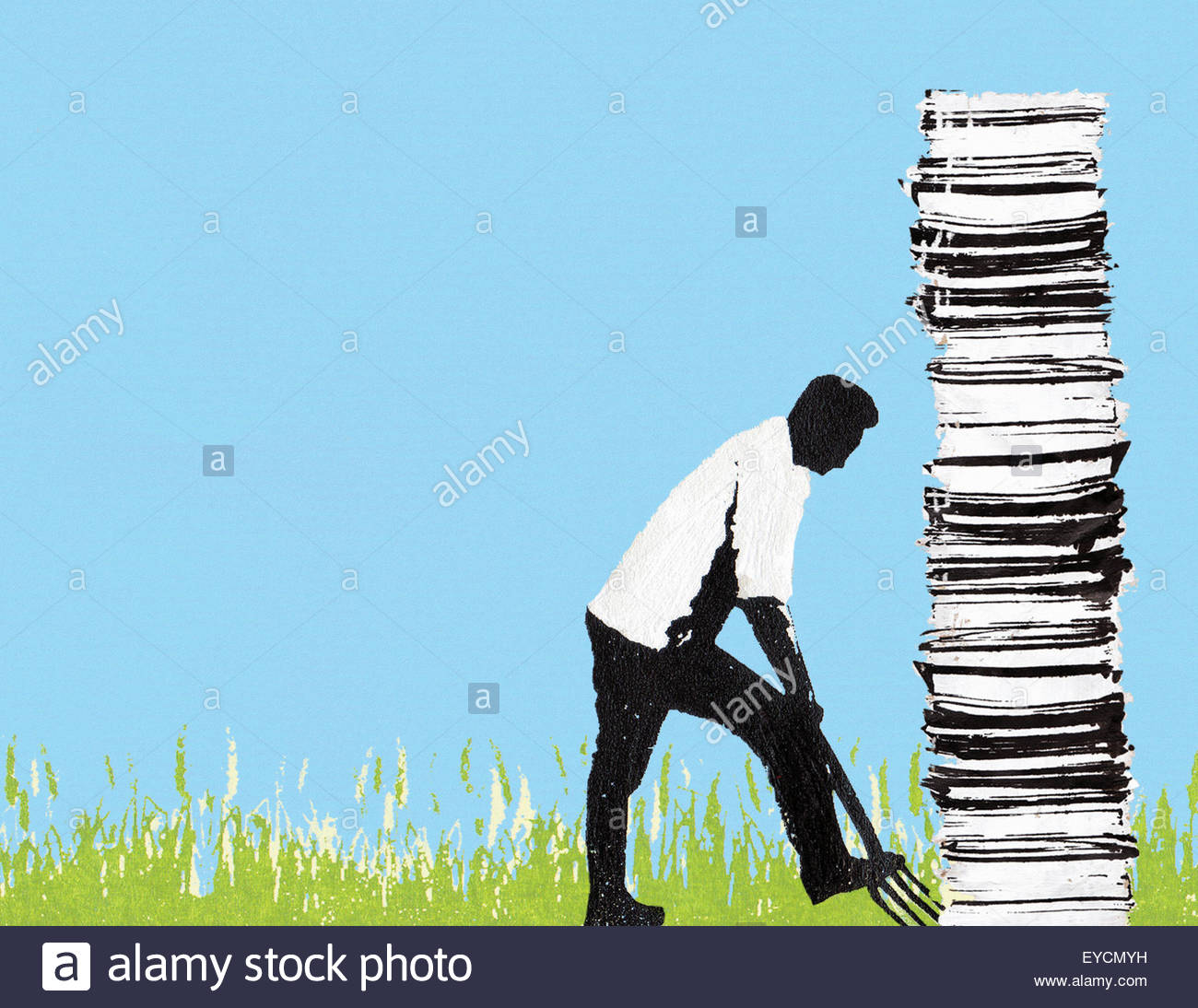 Man digging up tall pile of paperwork - Stock Image