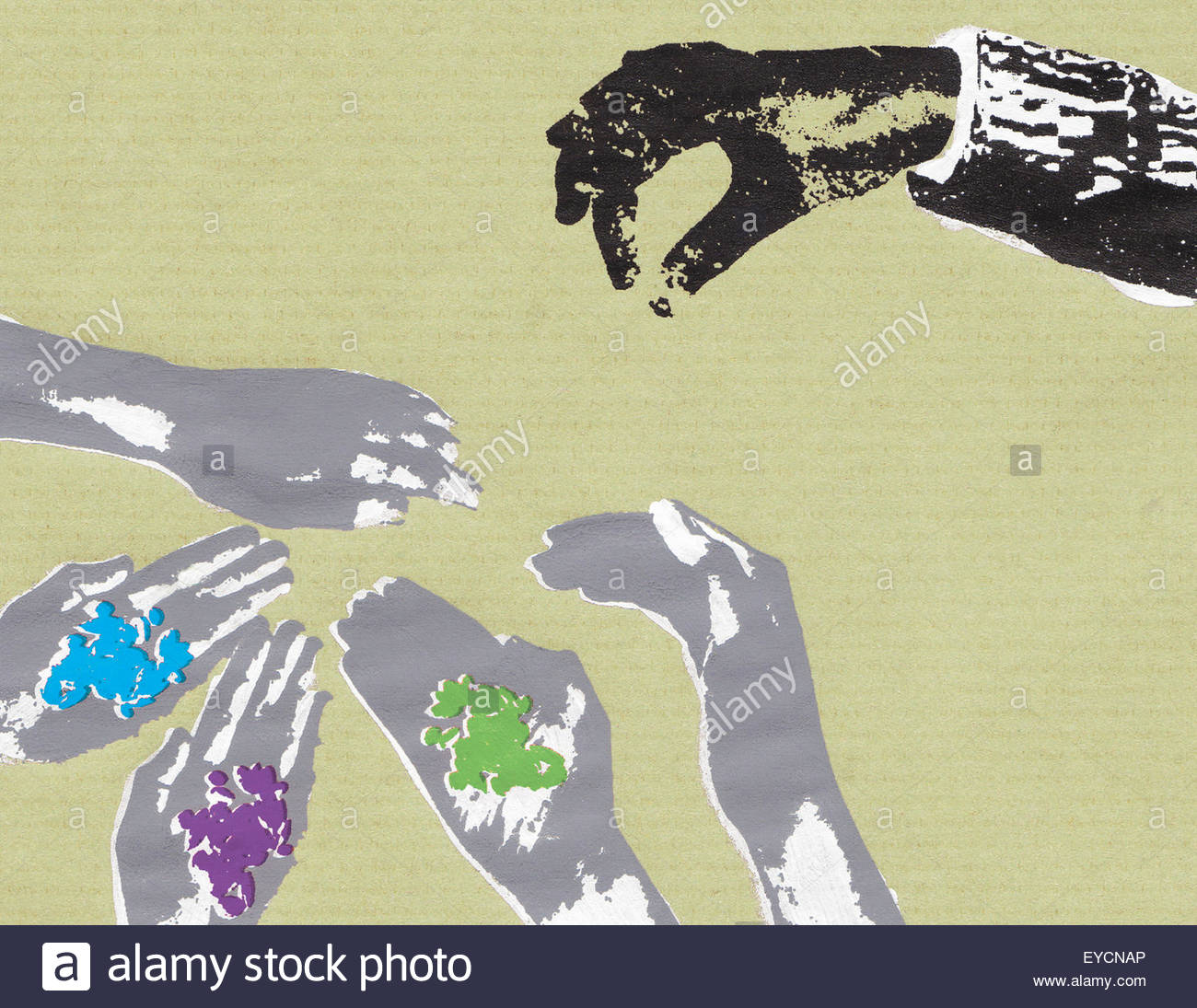 Businessman giving seeds to outstretched hands - Stock Image