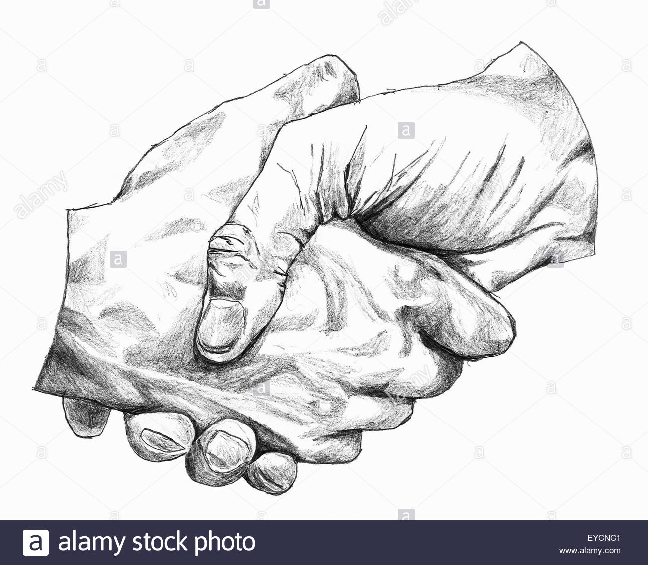 Close up pencil drawing of shaking hands - Stock Image