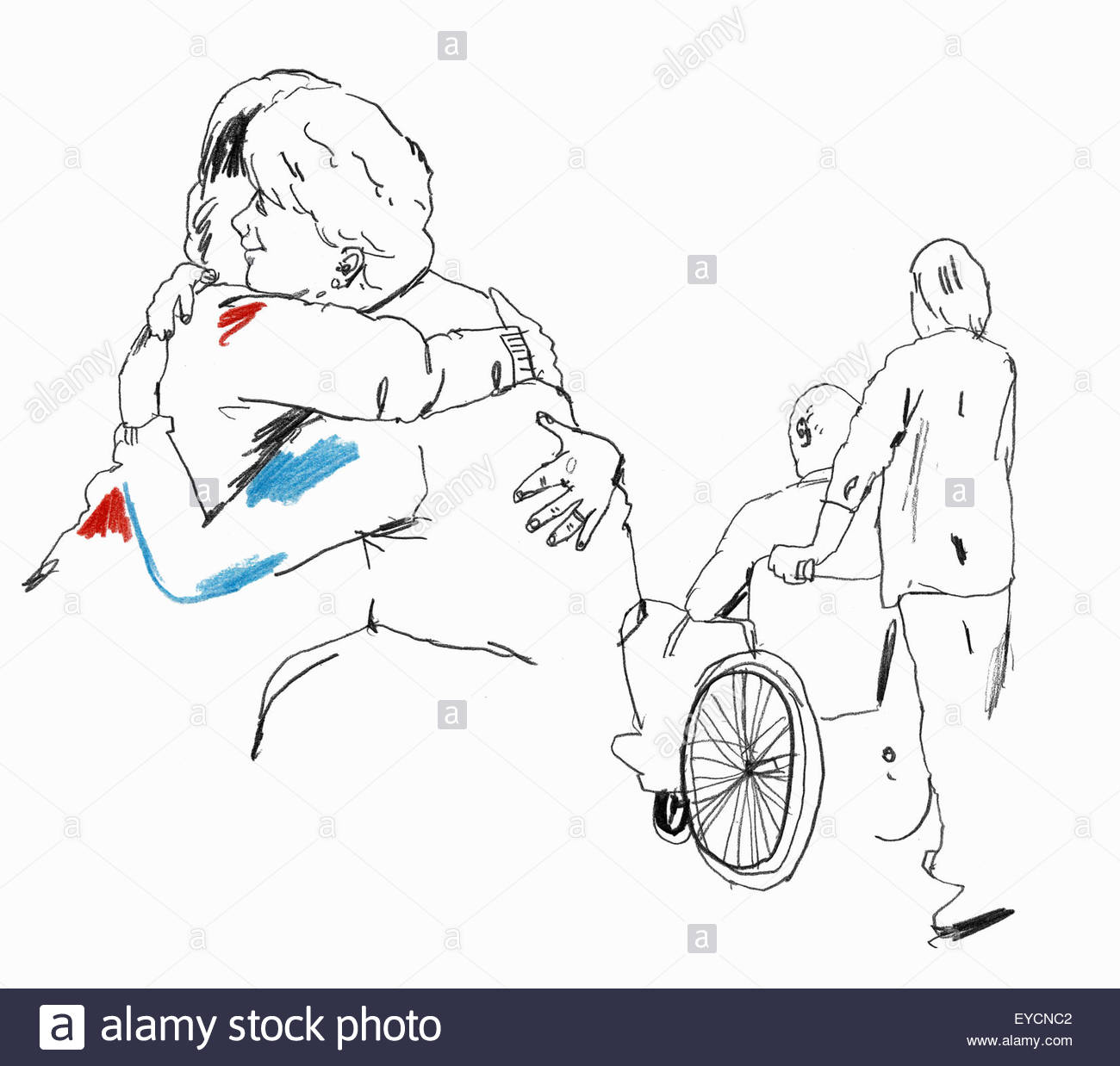 Daughter and care worker caring for elderly man and woman - Stock Image