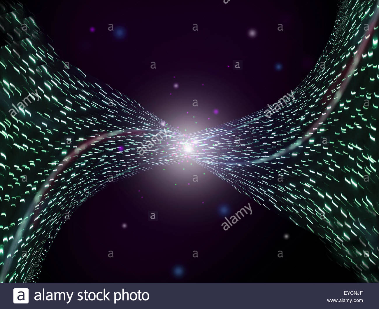 Abstract background pattern of bright light dots spraying from vanishing point - Stock Image