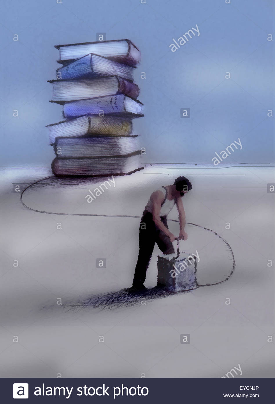 Man pushing detonator attached to stack of books - Stock Image