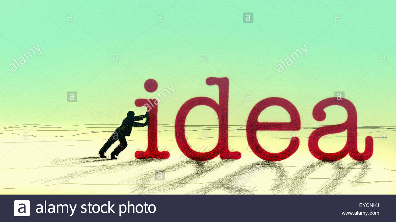 Man pushing big Idea text - Stock Image