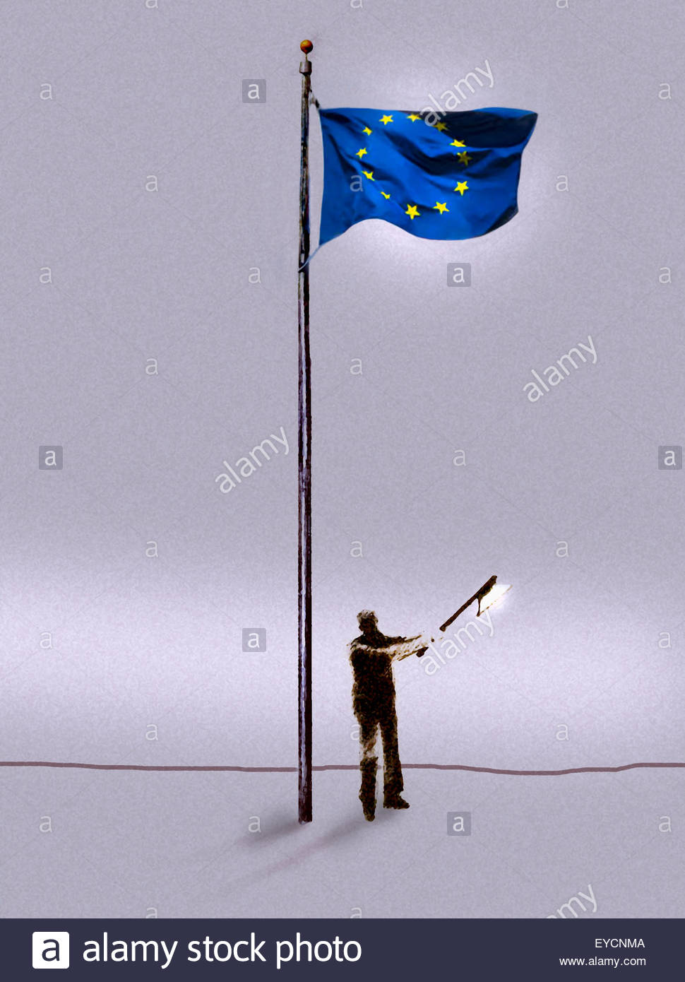 Man chopping down European Union flag pole - Stock Image