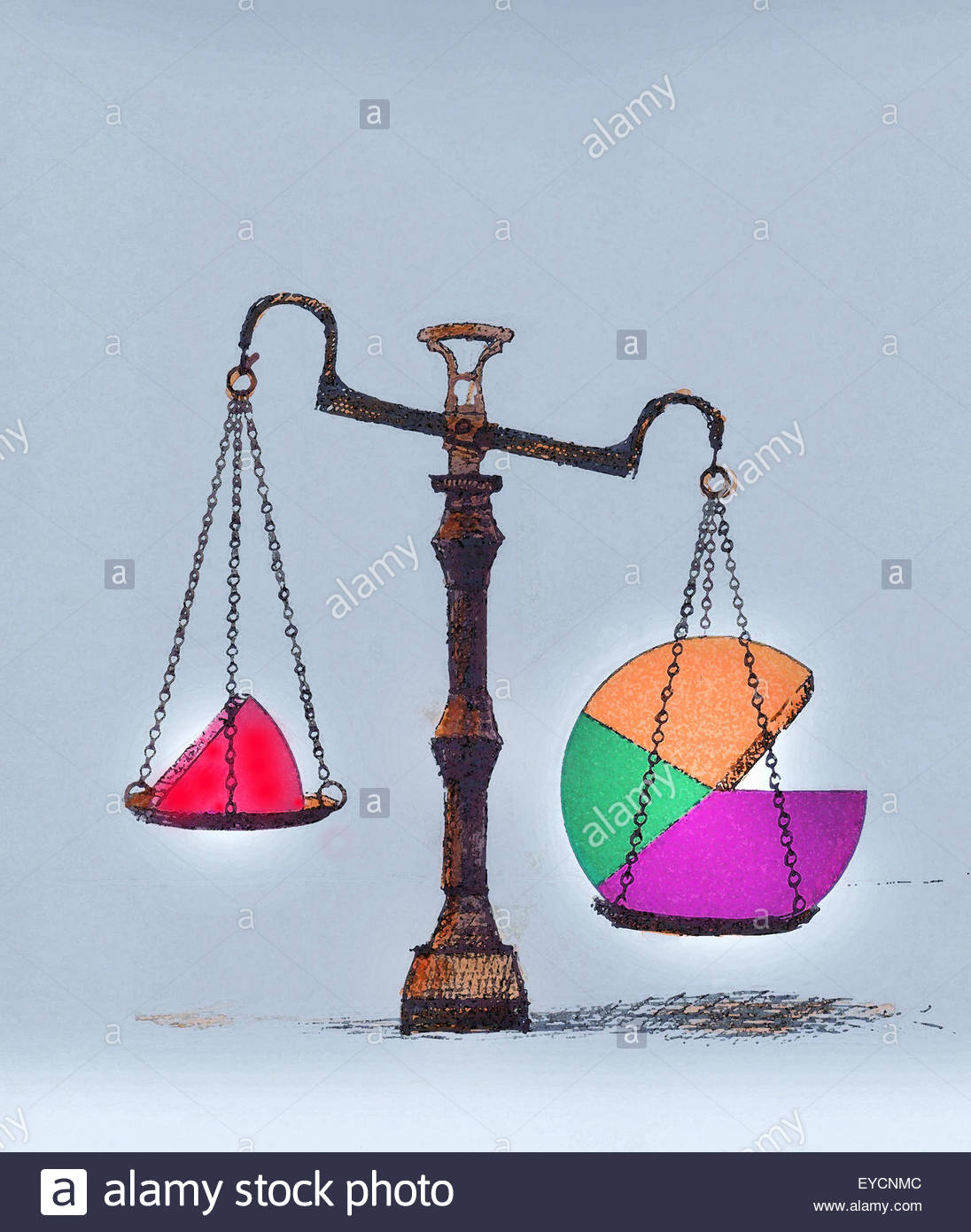 Unequal shares of pie chart on weigh scales - Stock Image