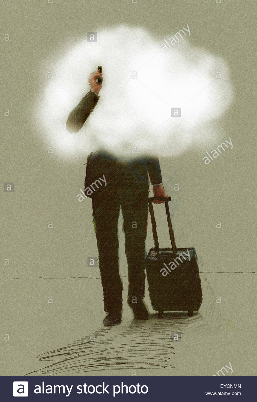 Businessman on the move using phone pulling suitcase with head in the clouds - Stock Image