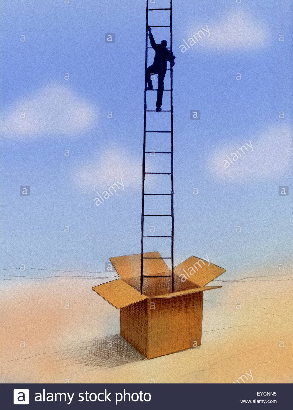 Businessman climbing ladder out of box - Stock Image