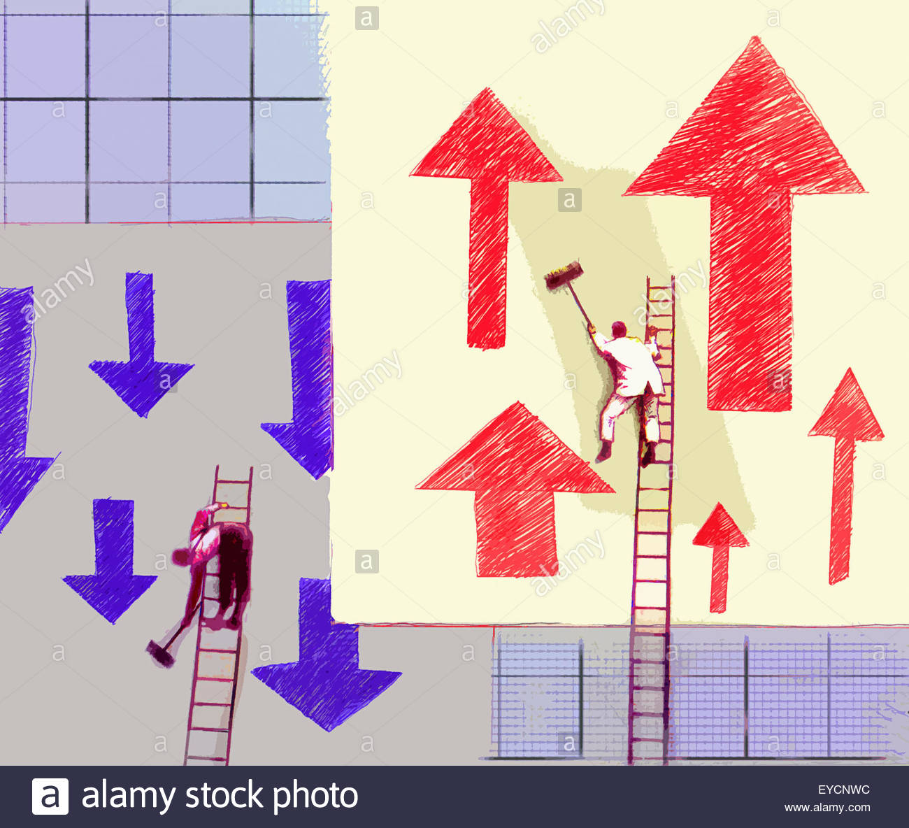 Workmen pasting billboard posters with arrows going in opposite directions - Stock Image