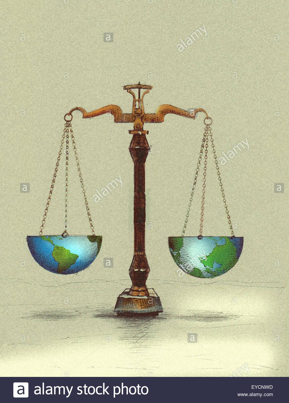Scales balancing northern and southern hemispheres of globe - Stock Image