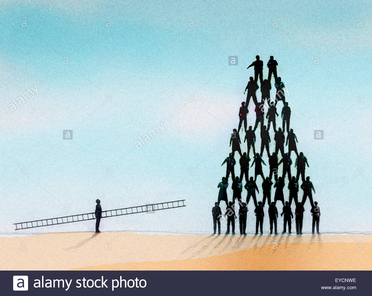 Man carrying tall ladder looking up to the top of a human pyramid - Stock Image