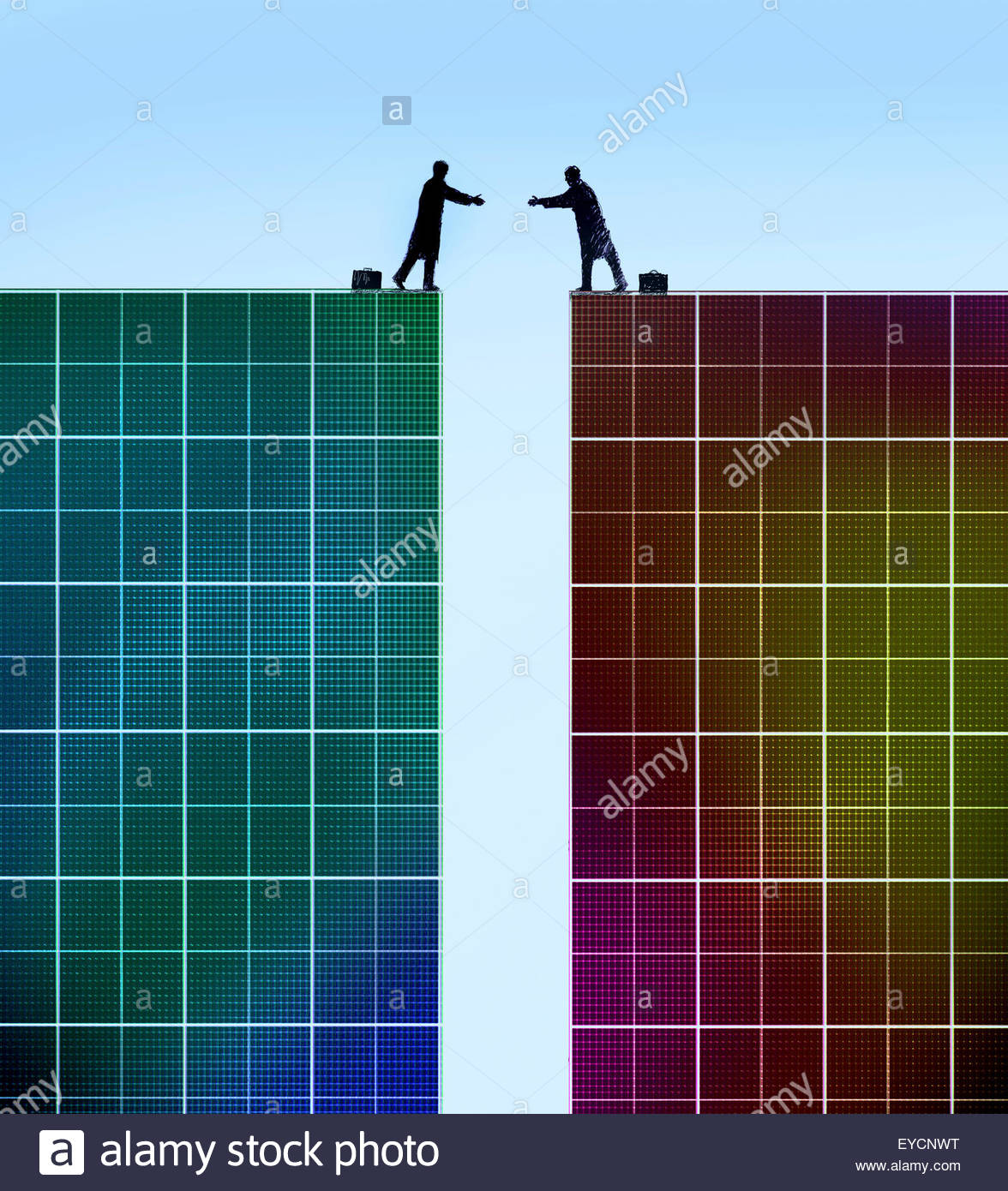 Businessmen reaching to shake hands across gap between two graph paper cliffs - Stock Image