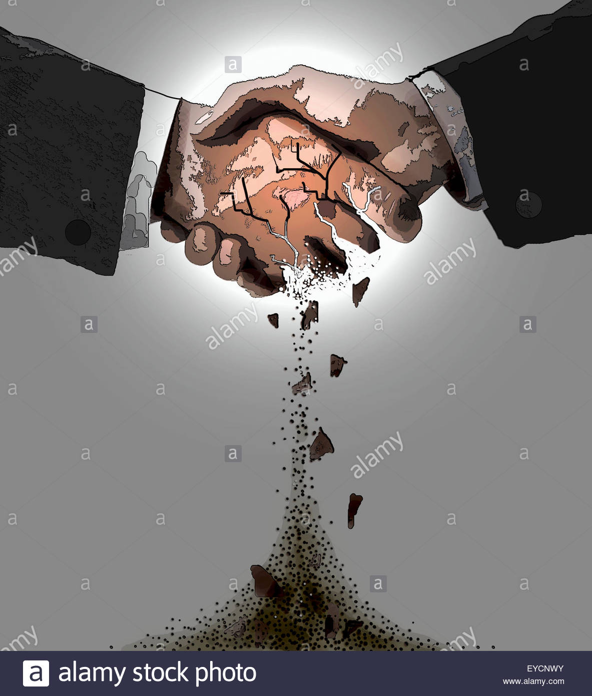 Close up of handshake crumbling - Stock Image