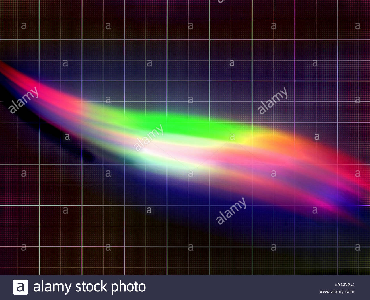 Abstract pattern of light spectrum over graph paper grid - Stock Image