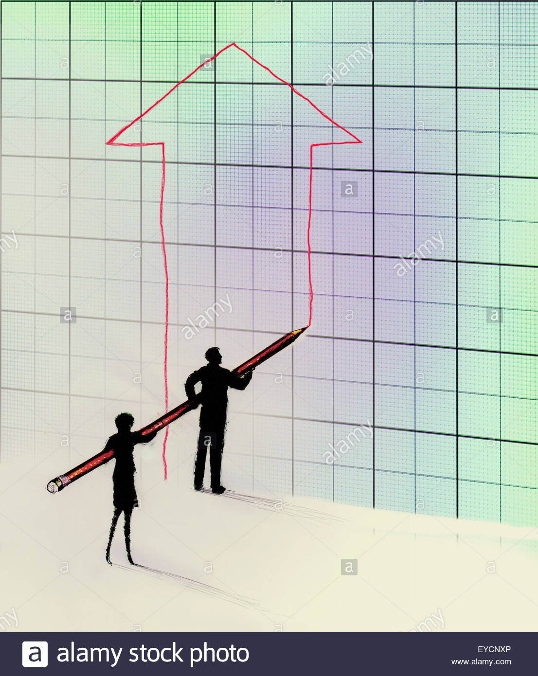 Businessman and businesswoman working together drawing large upward arrow on graph - Stock Image