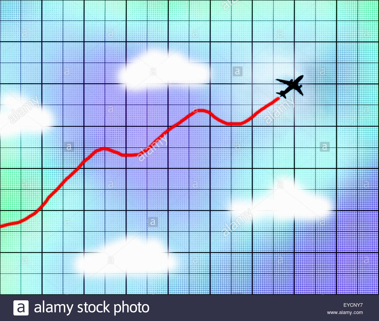 Vapour trail line graph from rising airplane - Stock Image