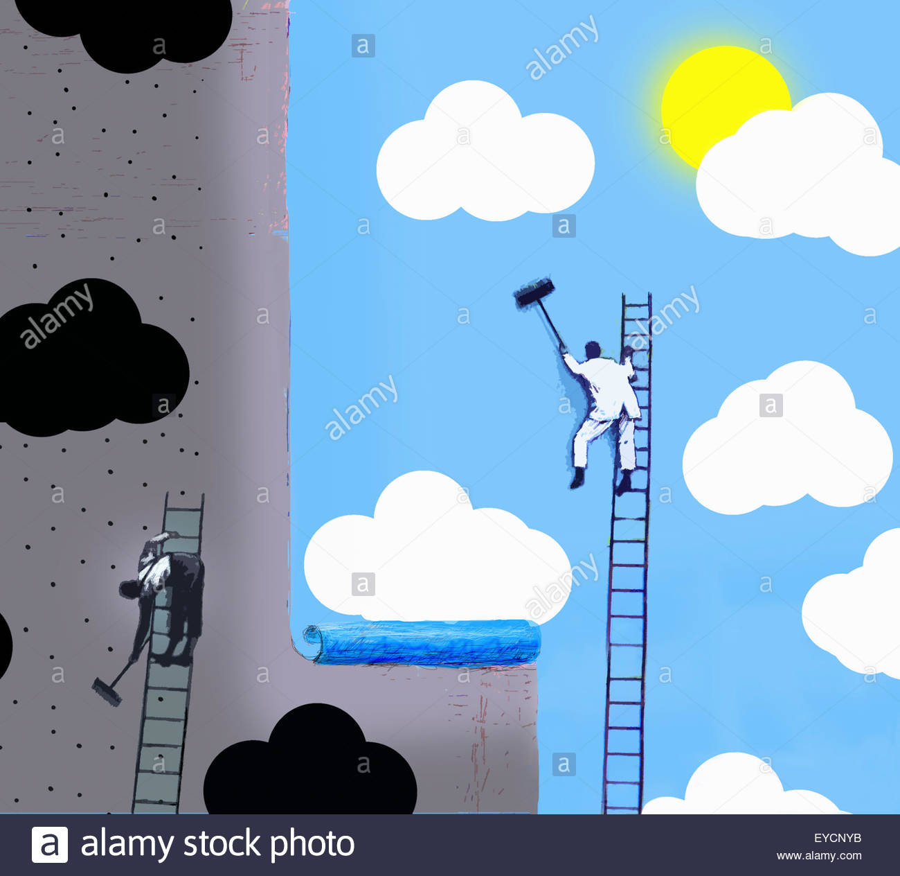 Workmen pasting contrasting optimistic and pessimistic billboard posters - Stock Image